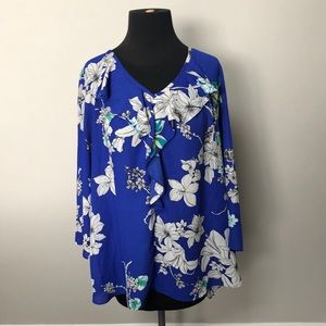 sami & jo blue floral ruffle bell sleeve large